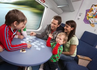 Kids playing games on train family holiday