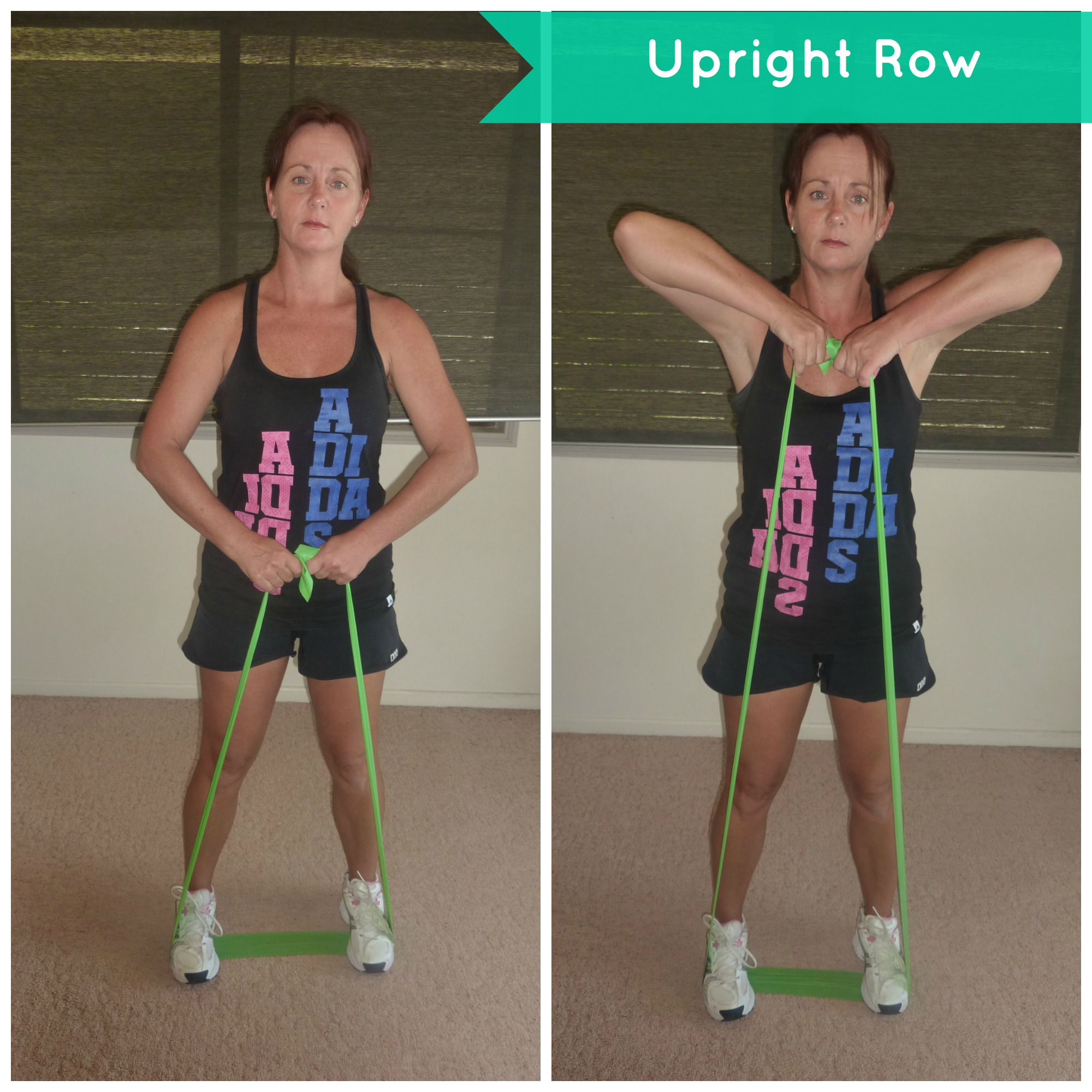 resistance band training upright row