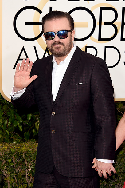 BEVERLY HILLS, CA - JANUARY 10: Host Ricky Gervais attends the 73rd Annual Golden Globe Awards held at the Beverly Hilton Hotel on January 10, 2016 in Beverly Hills, California. (Photo by Jason Merritt/Getty Images)