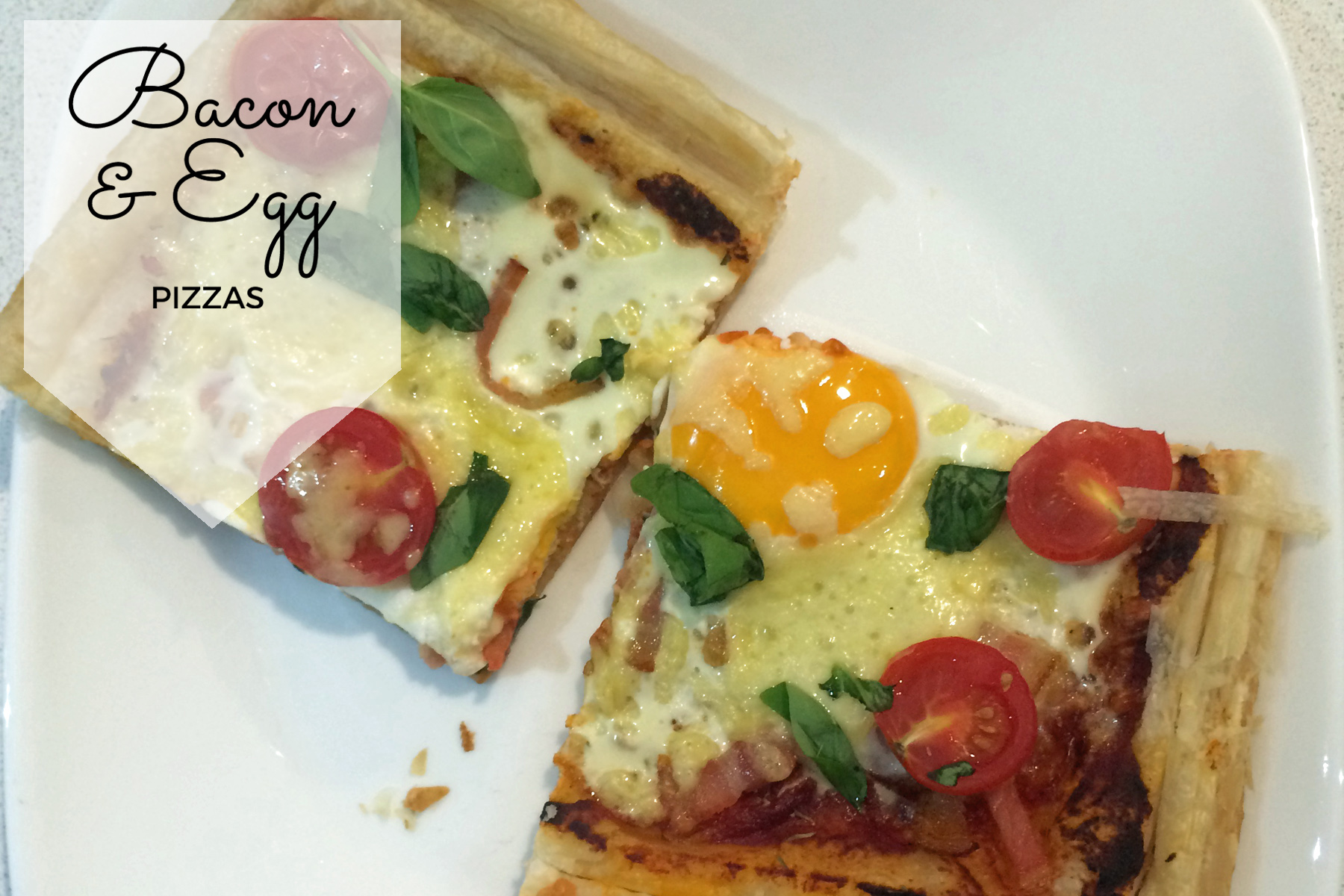 bacon and egg pizzas