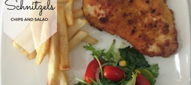 chicken schnitzel chips salad