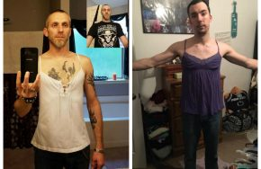 man puts on wife's shirt to support body image